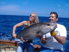 This nice catch by Chrissy was about a 35# amberjack. Later I caught a 58# AJ that nearly pulled my arms off.